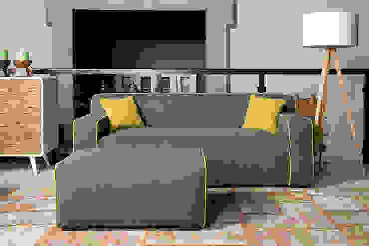 Bjorn 2,5 zits sofa met hocker - Floris van Gelder: modern  door Floris van Gelder, Modern