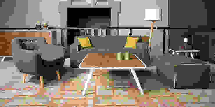 Bjorn 2,5 zits sofa met hocker sf - Floris van Gelder: modern  door Floris van Gelder, Modern