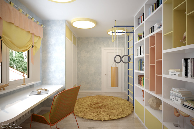 """Дизайн детской в современном стиле в коттеджном поселке """"Бавария"""" Детская комната в стиле модерн от Студия интерьерного дизайна happy.design Модерн"""