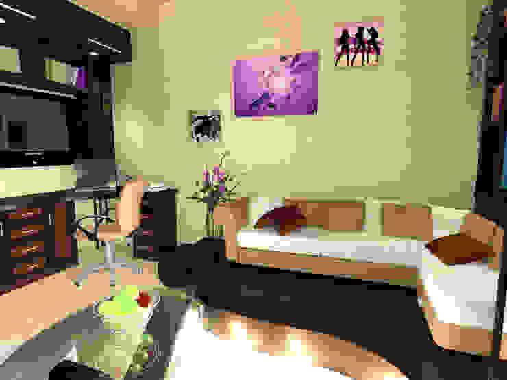 Зонирование комнаты в скандинавском стиле Гостиная в скандинавском стиле от ООО 'Бастет' Скандинавский