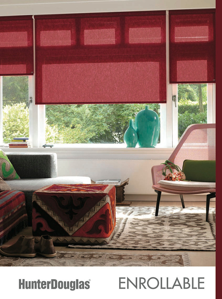 Persianas Hunter Douglas Salones minimalistas de Dekorier Interiores Minimalista Textil Ámbar/Dorado