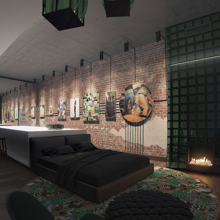 인더스트리얼 침실 by FEDOROVICH Interior 인더스트리얼 벽돌