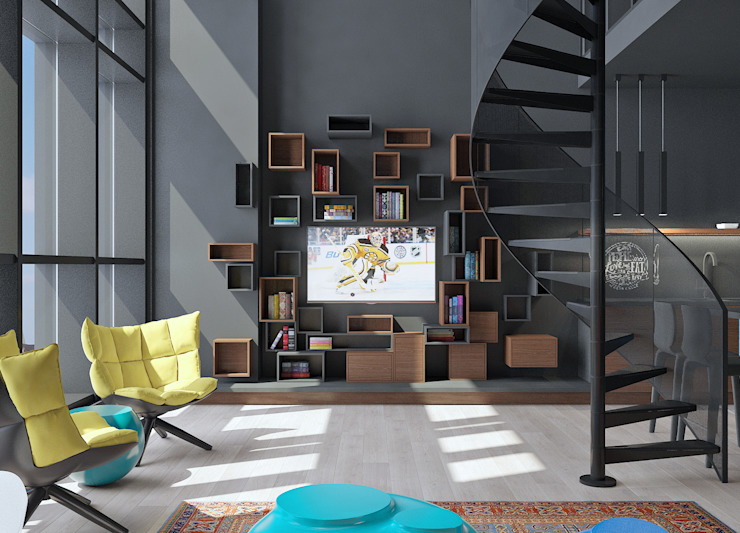 Industrial style media room by FEDOROVICH Interior Industrial MDF