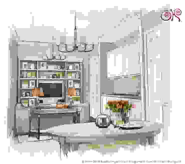 Дизайн квартиры в подарок матери: Кухня-гостиная Гостиная в классическом стиле от Дизайн студия Ольги Кондратовой Классический