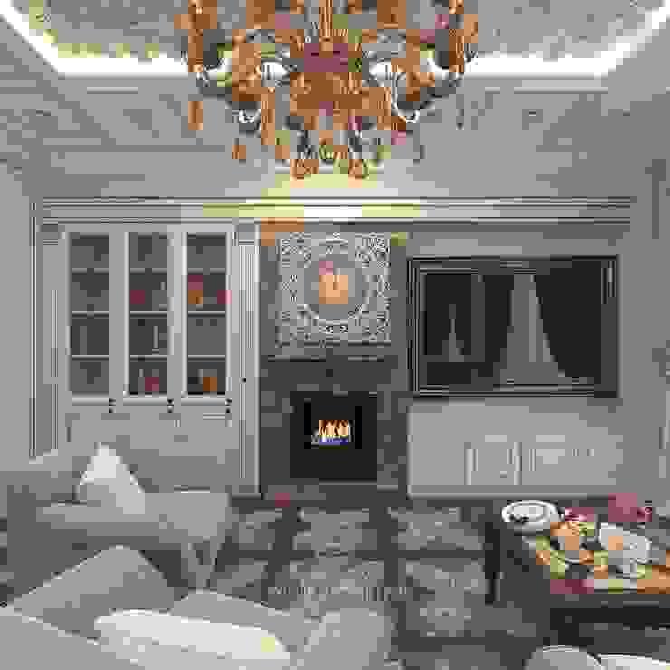 Дизайн бежевой гостиной в стиле модерн в «Сколково парк» Гостиная в классическом стиле от Студия дизайна интерьера Руслана и Марии Грин Классический