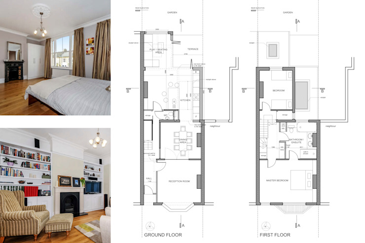Architect designed rear house extension Herne Hill SE24 Lambeth – Design floor plans de GOAStudio | London residential architecture Moderno