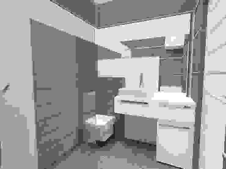 Mała łazienka duże płytki Nowoczesna łazienka od Katarzyna Wnęk Nowoczesny
