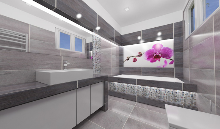 Łazienka szara, romatyczna Nowoczesna łazienka od Katarzyna Wnęk Nowoczesny
