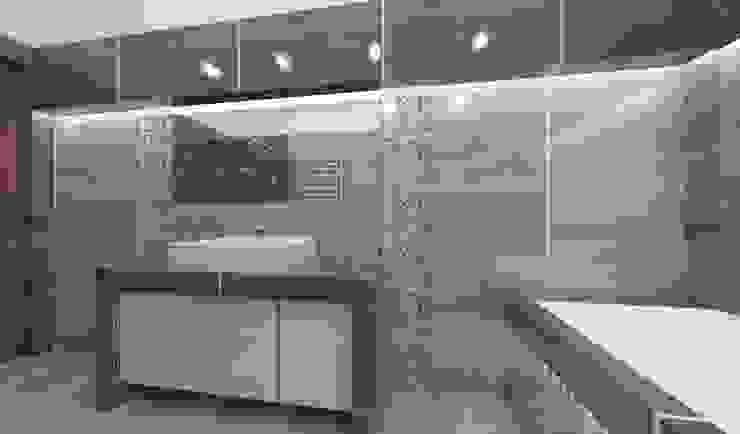 Łazienka szara, romantyczna Nowoczesna łazienka od Katarzyna Wnęk Nowoczesny