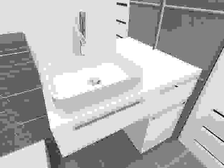 Mała łazienka, duże płytki Nowoczesna łazienka od Katarzyna Wnęk Nowoczesny