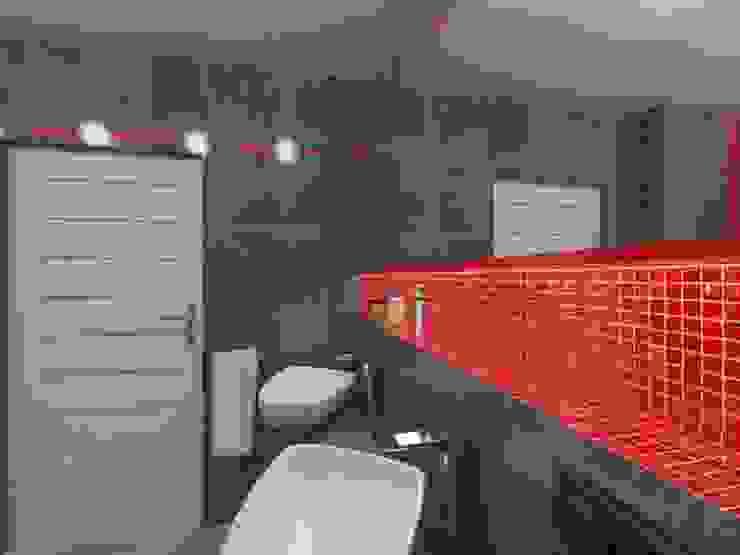 Szara z czerwonym Nowoczesna łazienka od Katarzyna Wnęk Nowoczesny
