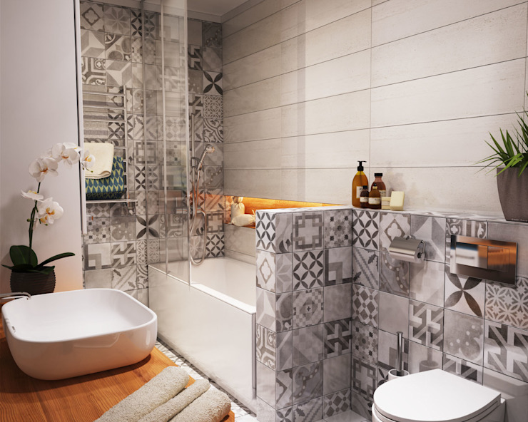 Bathroom by Polygon arch&des, Minimalist Tiles