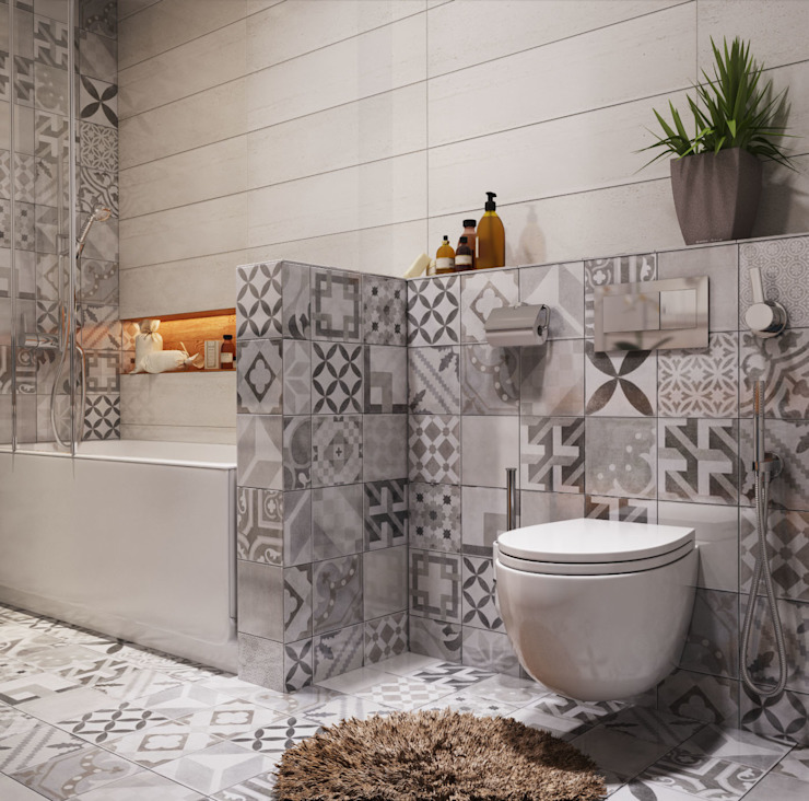 Bathroom Polygon arch&des Minimalist bathroom Tiles Grey