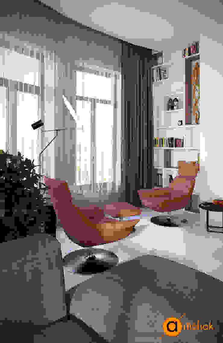 Гостиная с камином Гостиная в скандинавском стиле от Artichok Design Скандинавский Дерево Эффект древесины
