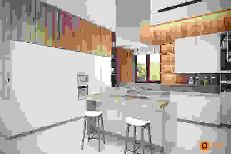 Обеденная зона Кухня в скандинавском стиле от Artichok Design Скандинавский Дерево Эффект древесины
