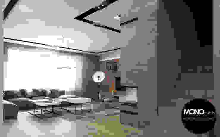 Nowoczesne i eleganckie wnętrze w przestronnym apartamencie Nowoczesny salon od MONOstudio Nowoczesny Kompozyt drewna i tworzywa sztucznego