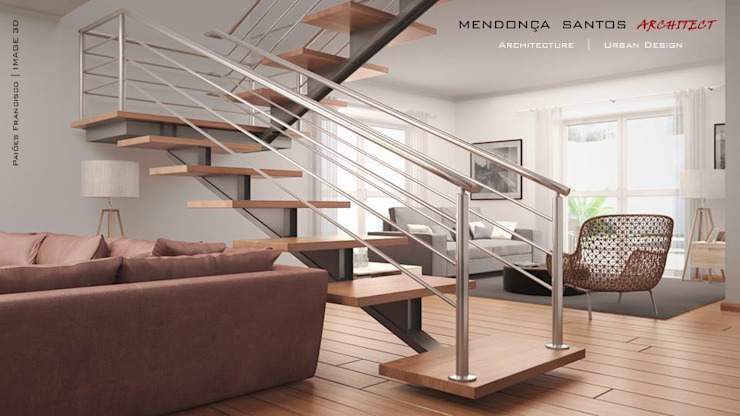 Residencia Colina da Asseca Salas de estar modernas por Mendonça Santos Arquitetos & Associados Moderno