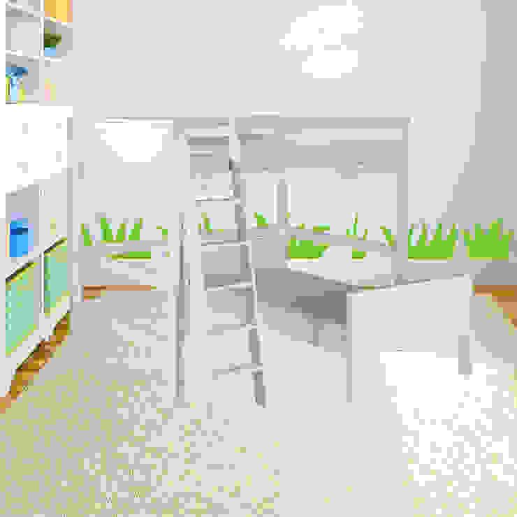 Beliche em L Ambientado por INTERCASA MÓVEIS INFANTIS E JUVENIS Escandinavo Madeira Efeito de madeira