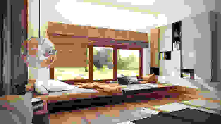 Гостевая спальня с подиумом Спальня в стиле минимализм от Artichok Design Минимализм Дерево Эффект древесины
