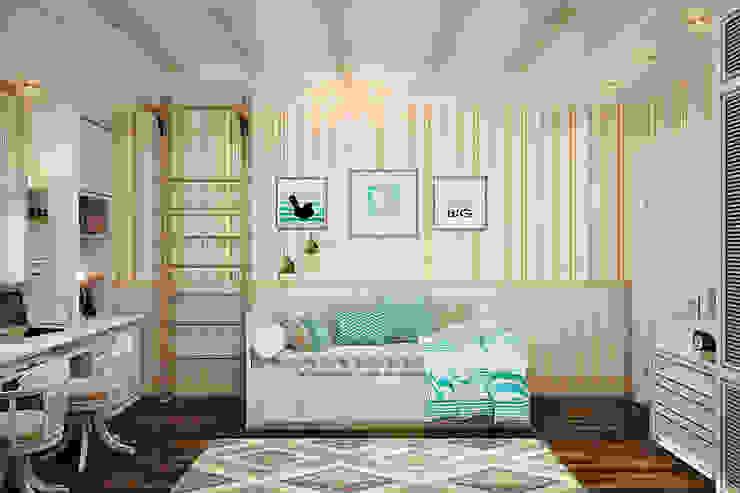 Детская для двух детей - уютный интерьер в британском стиле: Детские комнаты в . Автор – Студия дизайна Interior Design IDEAS,