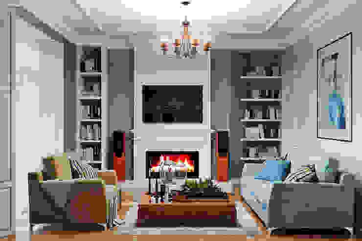 Элегантный интерьер для гостиной с балконом Гостиная в стиле модерн от Студия дизайна Interior Design IDEAS Модерн