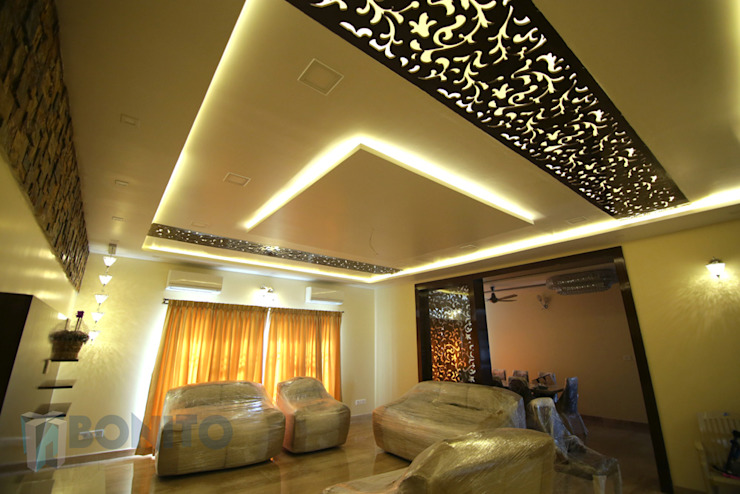 Living false ceiling design with CNC pattern Asian style walls & floors by homify Asian