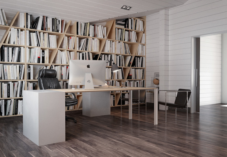 Minimalist study/office by homify Minimalist Wood Wood effect