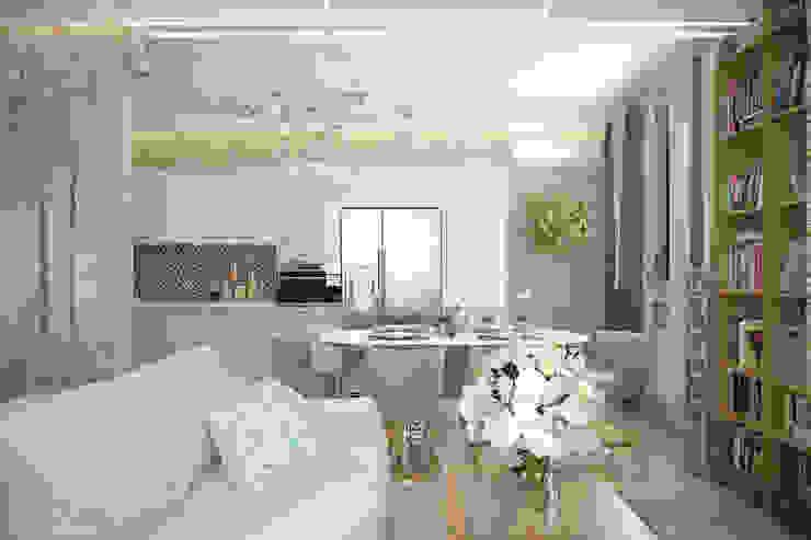 """Дизайн кухни - гостиной в современном стиле в коттеджном поселке """"Бавария"""" Кухня в стиле модерн от Студия интерьерного дизайна happy.design Модерн"""
