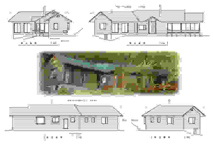 立面図、八ヶ岳の眺望を優先した窓の配置 日本家屋・アジアの家 の (有)岳建築設計 和風