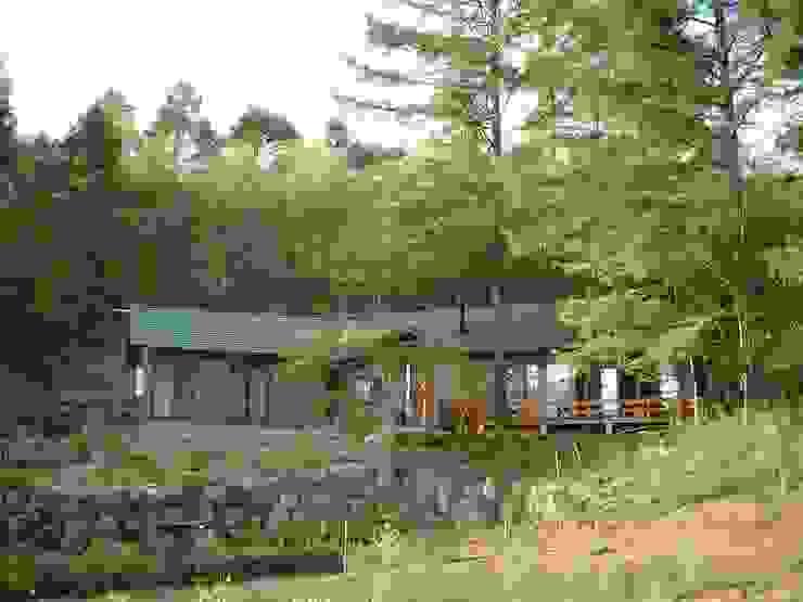 カラマツ林に囲まれた外観 日本家屋・アジアの家 の (有)岳建築設計 和風