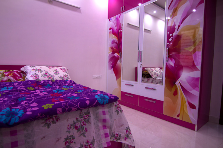 Digital laminated wardrobe Asian style bedroom by homify Asian