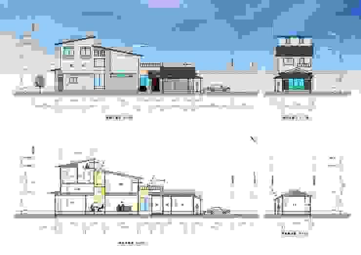 外観イメージ、断面計画 オリジナルな 家 の (有)岳建築設計 オリジナル