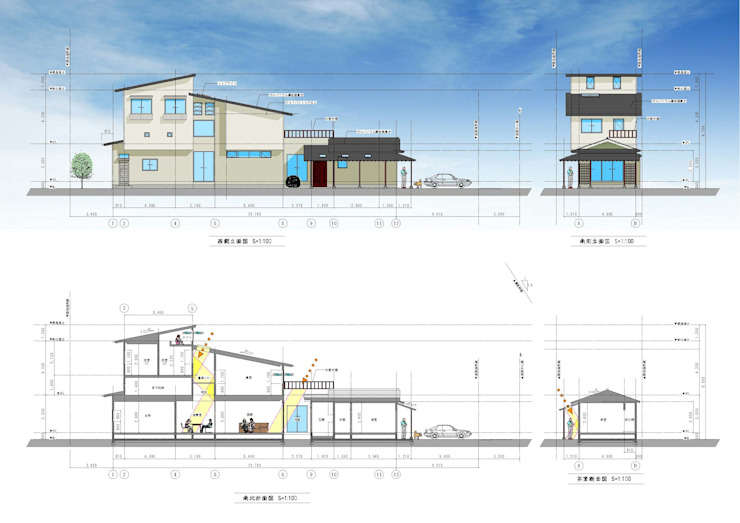 (有)岳建築設計 Eclectic style houses