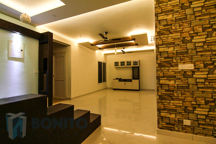 Stone cladding concept in living room by homify Classic