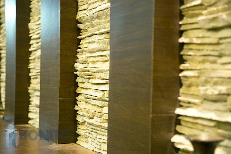 Stone cladding design by homify Asian