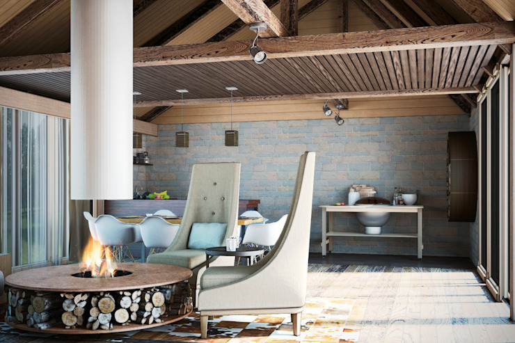 Rustic style balcony, veranda & terrace by AG design Rustic Natural Fibre Beige