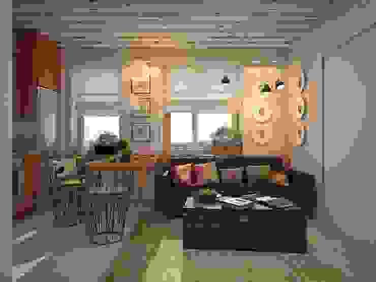 квартира в ЖК Garden Park Эдальго Гостиная в стиле лофт от AG design Лофт Кирпичи