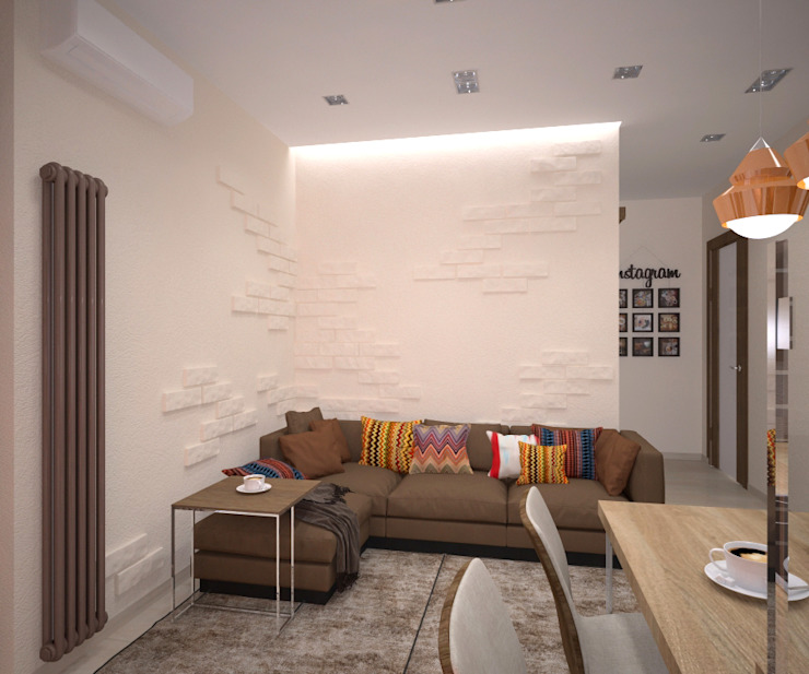 Квартира 55 кв.м. в ЖК <q>Европейский берег</q> Гостиная в стиле минимализм от Студия дизайна Виктории Силаевой Минимализм