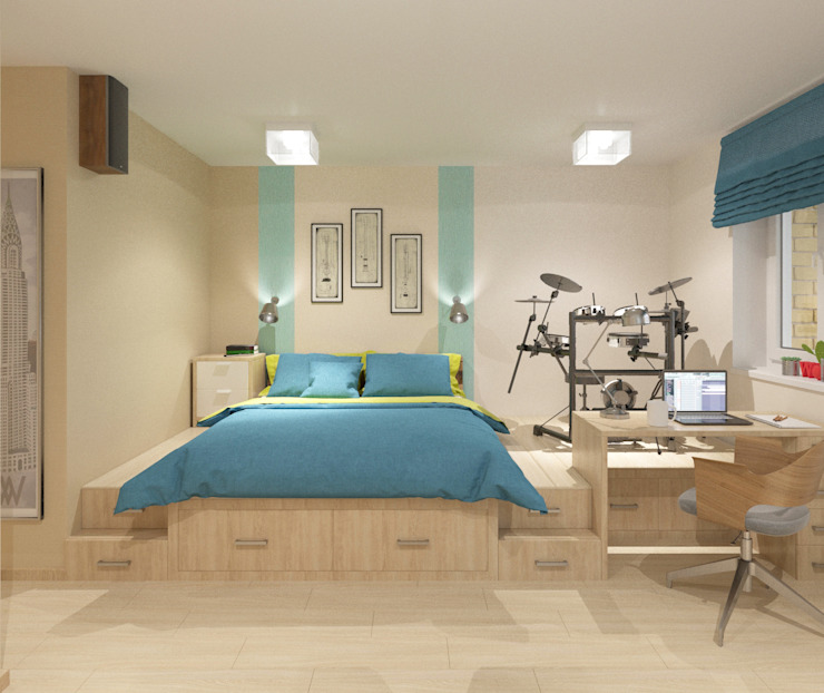 Minimalist living room by Студия дизайна Виктории Силаевой Minimalist