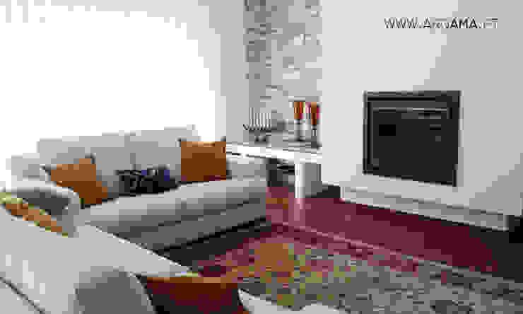 Moradia Golf Salas de estar campestres por ARQAMA - Arquitetura e Design Lda Campestre