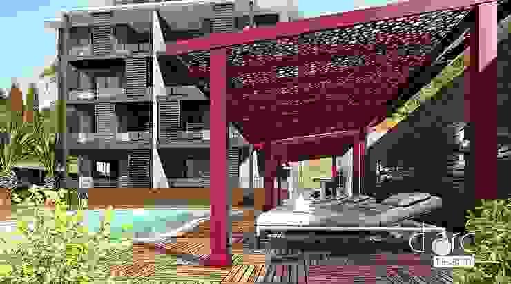 PERGOLART – Bodrum Residence Havuz Alanı : modern tarz , Modern Aluminyum/Çinko