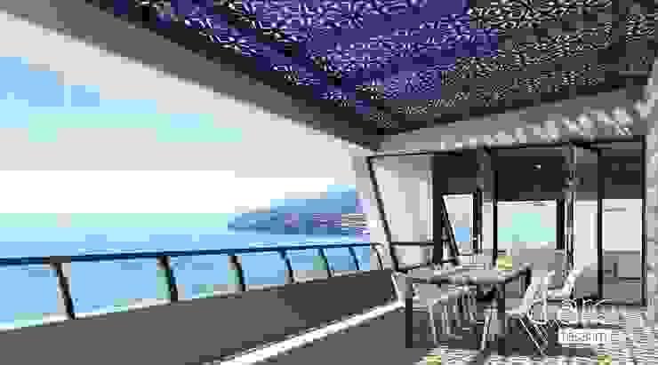 PERGOLART – İstanbul Villa Teras Alanı: minimalist tarz , Minimalist Aluminyum/Çinko