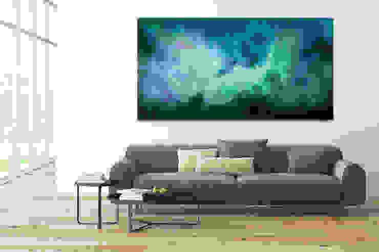Acryl Gemälde 'Tanz der Galaxien' 200x100cm für Wohnzimmer: modern  von KUNSTLOFT,Modern Baumwolle Rot