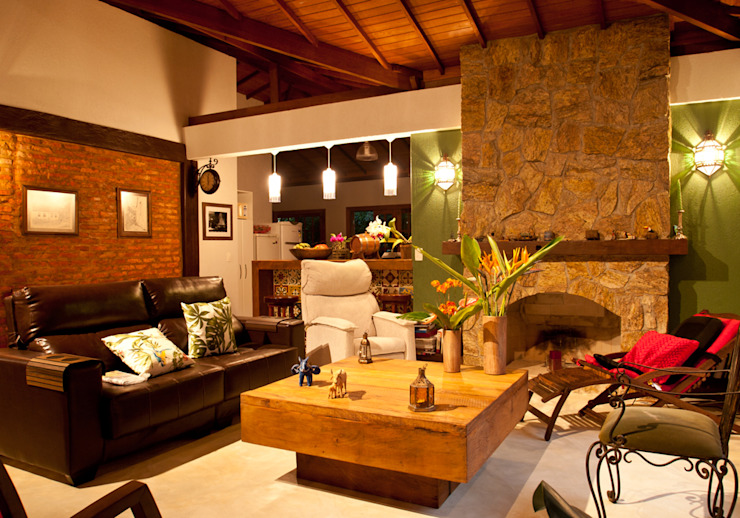 Rustic style living room by Jaqueline Vale Arquitetura Rustic