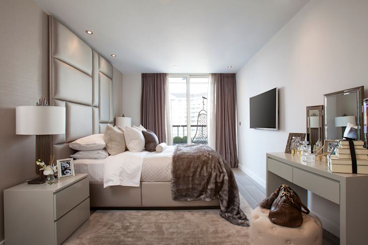 Thames Quay JHR Interiors BedroomBeds & headboards