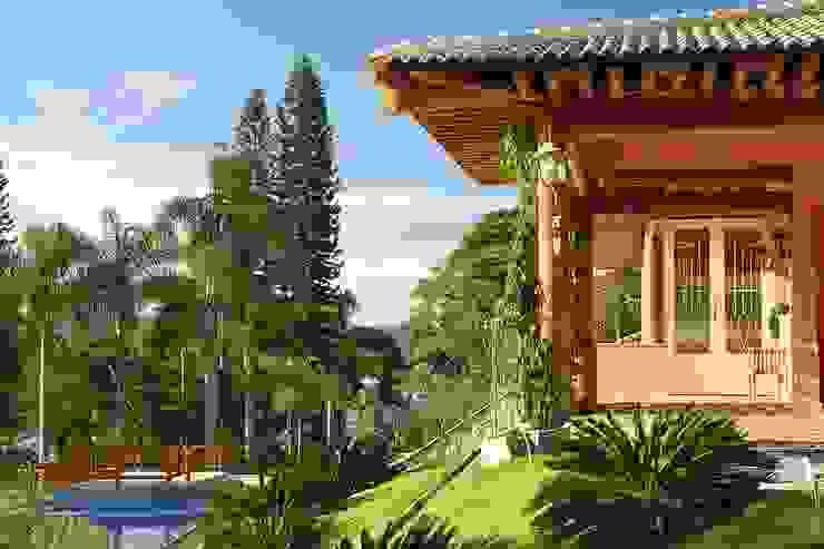Fachada lateral - estrutura de madeira em eucalipto torneado Casas rústicas por Moran e Anders Arquitetura Rústico