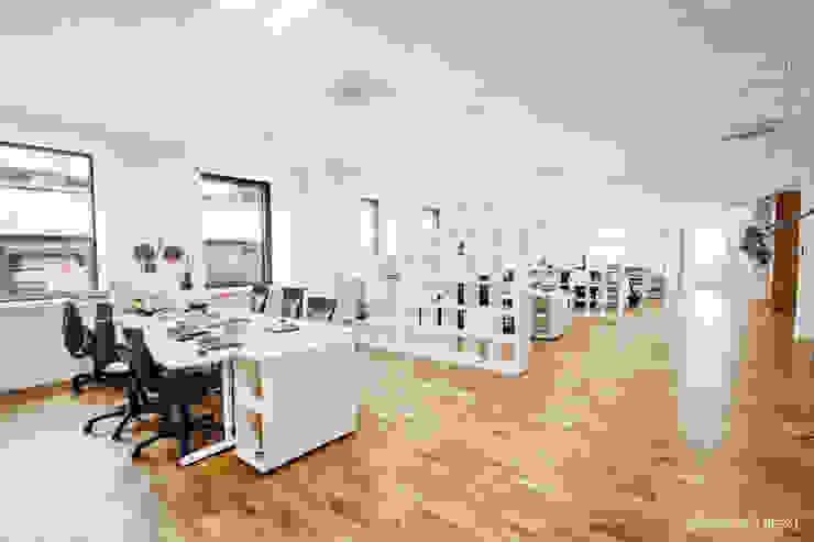 Wnętrza biurowe 'Futuro Finance' - open space od DOKTOR ARCHITEKCI Minimalistyczny Drewno O efekcie drewna