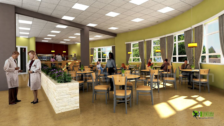 3D Hospital Lobby Interior Design Rendering: modern  by Yantram Architectural Design Studio, Modern