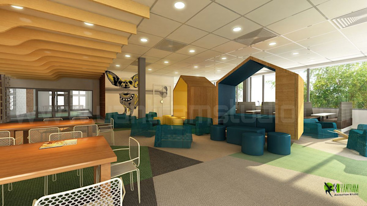 3D Interior Cafeteria Design: modern  by Yantram Architectural Design Studio, Modern