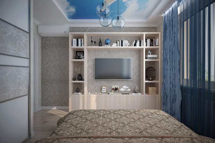 """Дизайн спальни в современном стиле в коттеджном поселке """"Бавария"""" Спальня в стиле модерн от Студия интерьерного дизайна happy.design Модерн"""